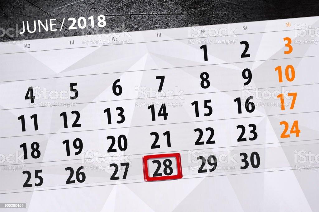 Calendar planner for the month, deadline day of the week, thursday, 2018 june 28 royalty-free calendar planner for the month deadline day of the week thursday 2018 june 28 stock vector art & more images of 2018