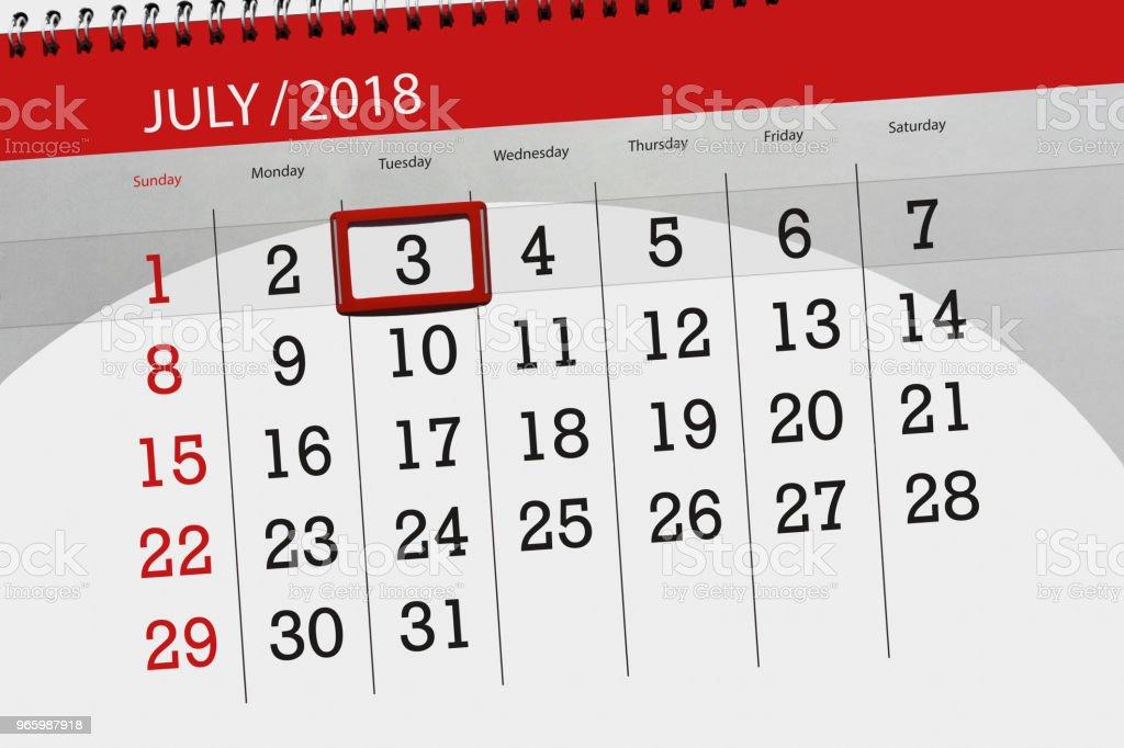 Kalender-Planer für den Monat, Termin Tag der Woche, Dienstag, 3 Juli 2018 - Lizenzfrei 2018 Stock-Illustration