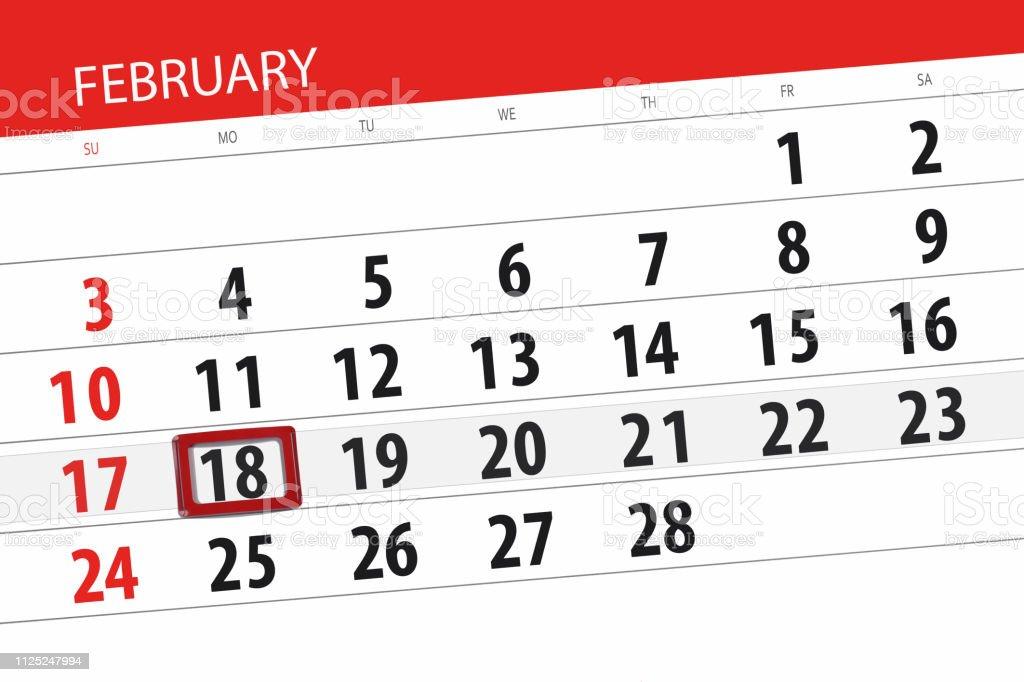 Fevrier Calendrier.Calendrier Agenda Pour Le Mois De Fevrier 2019 Jour De