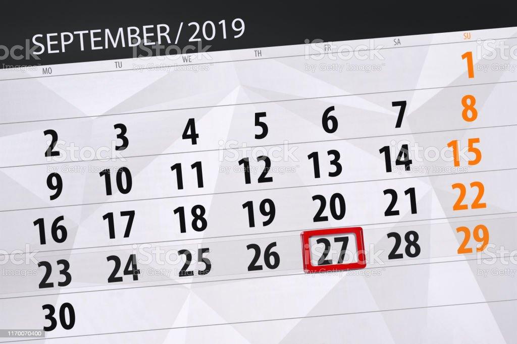 Calendrier Mois De Septembre.Planificateur Du Calendrier Pour Le Mois De Septembre 2019 Jour De La Date Limite 27 Vendredi Vecteurs Libres De Droits Et Plus D Images Vectorielles