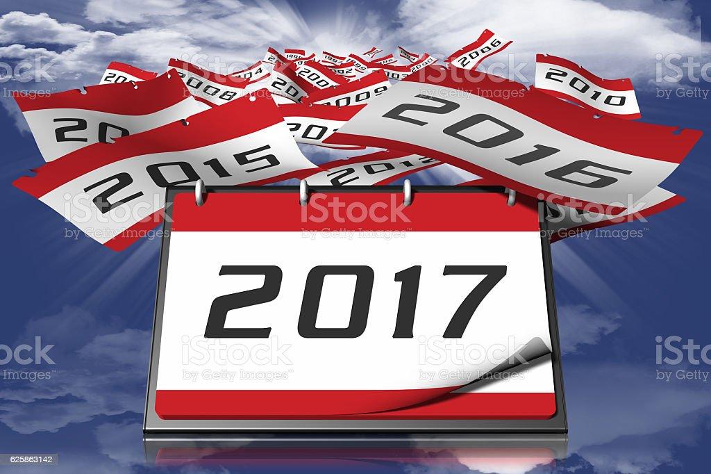 Calendar year 2017 sky vector art illustration