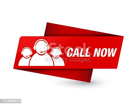 Call now (customer care team icon) isolated on premium red tag sign abstract illustration