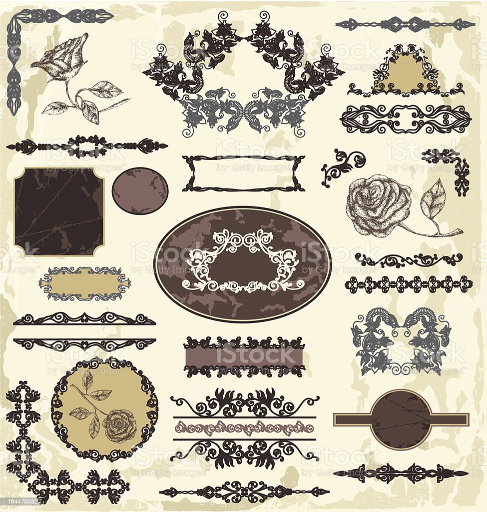 Calligraphic floral elements royalty-free stock vector art