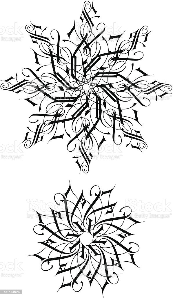Calligraphic Snowflakes royalty-free stock vector art