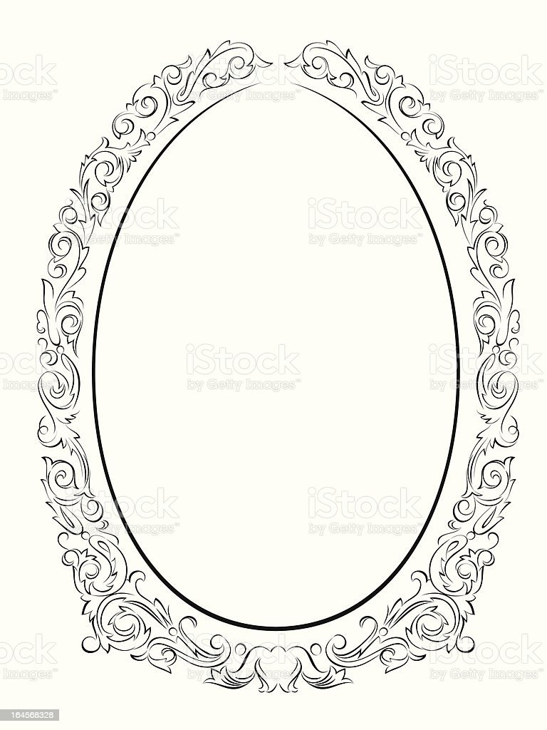 Caligrafía Penmanship Marco Barroco Ovalado Negro - Arte vectorial ...