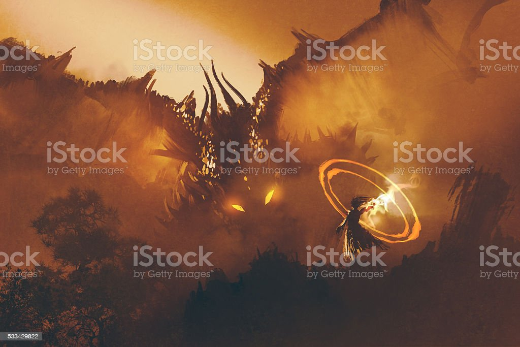calling of the dragon,magician summoning monster vector art illustration