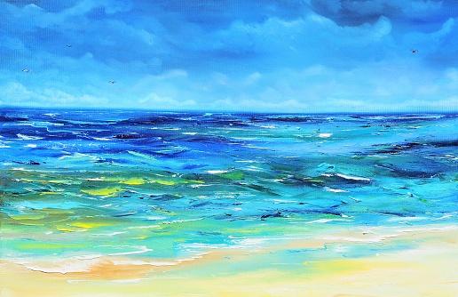 Calm Blue Sea Contemporary Art Painting