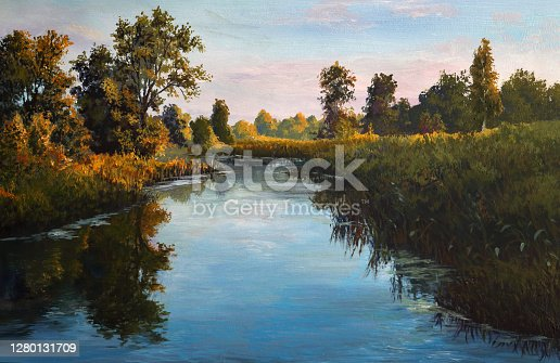 istock calm river on a summer evening, oil painting 1280131709