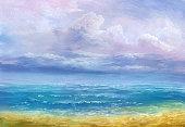 calm sea, oil painting