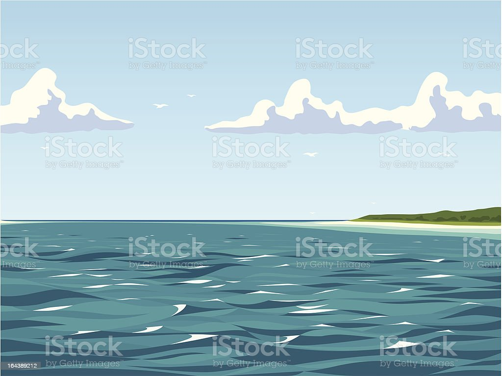Calm view of the seaside vector art illustration
