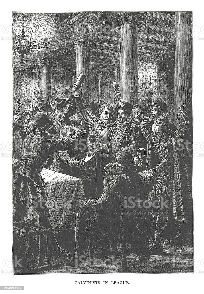 Calvinists in League (antique engraving) royalty-free stock vector art