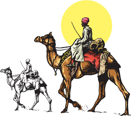 Camel and bedouin
