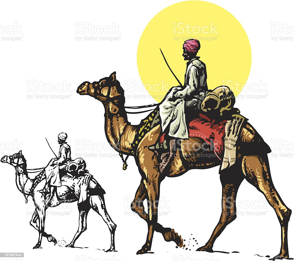 Camel and bedouin vector art illustration
