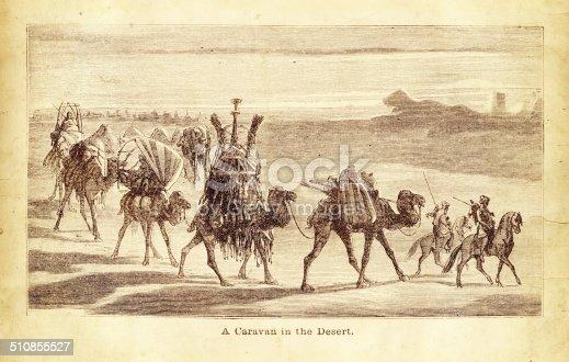Camel Caravan in the desert engraving illustration