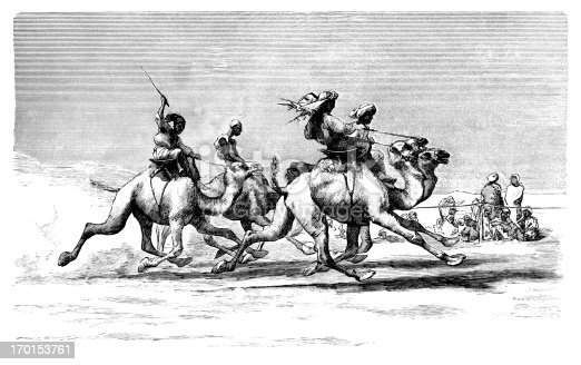 """Camel racing in Egypt. From """"Rip Van Winkle's Travels in Africa & Asia"""", published by Thomas Y. Crowell & Co., New York, 1882."""