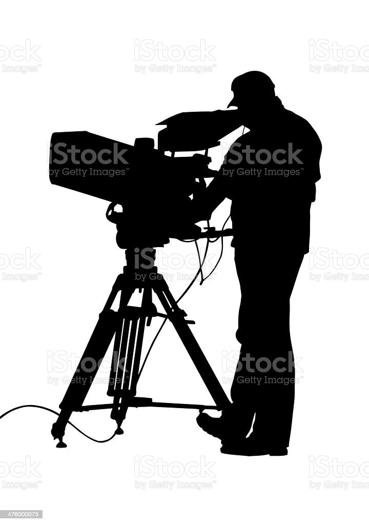 TV Camera and Operator Silhouette vector art illustration