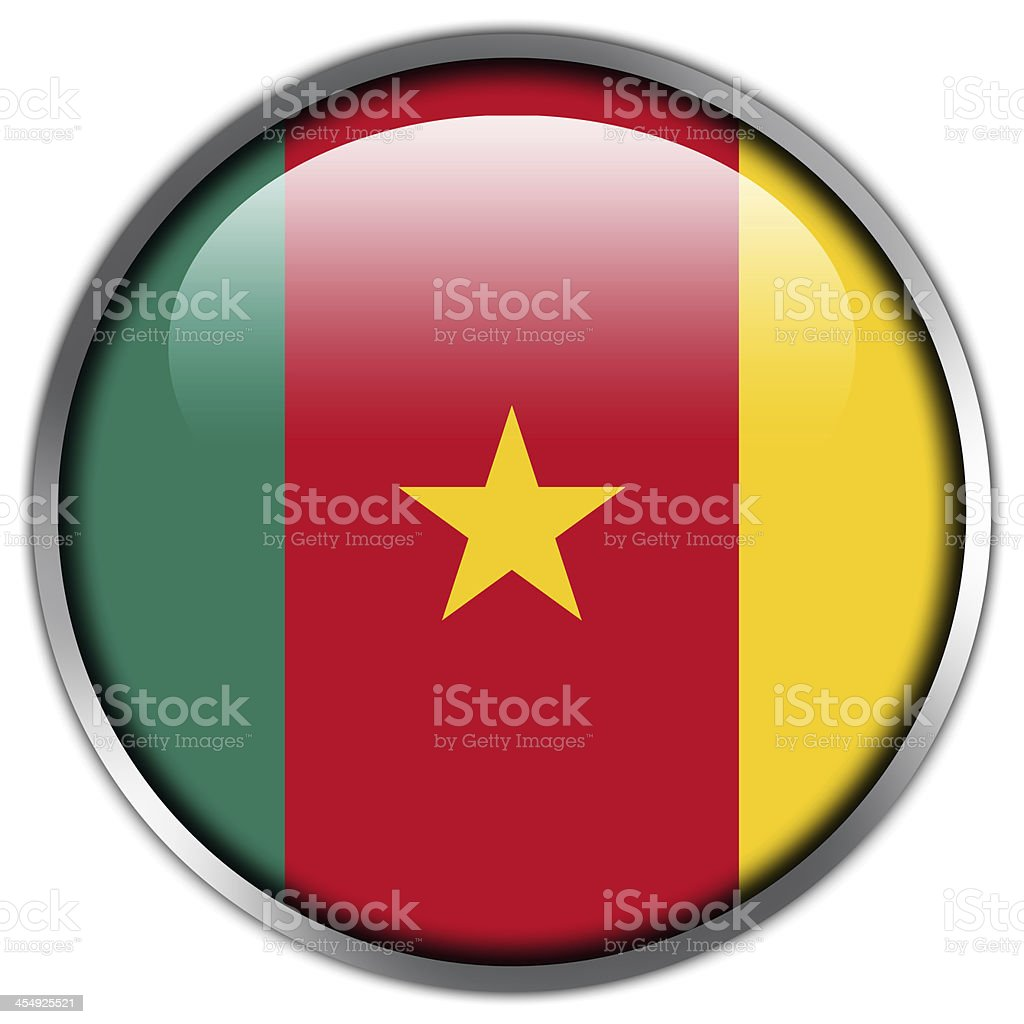 Cameroon Flag glossy button royalty-free stock vector art