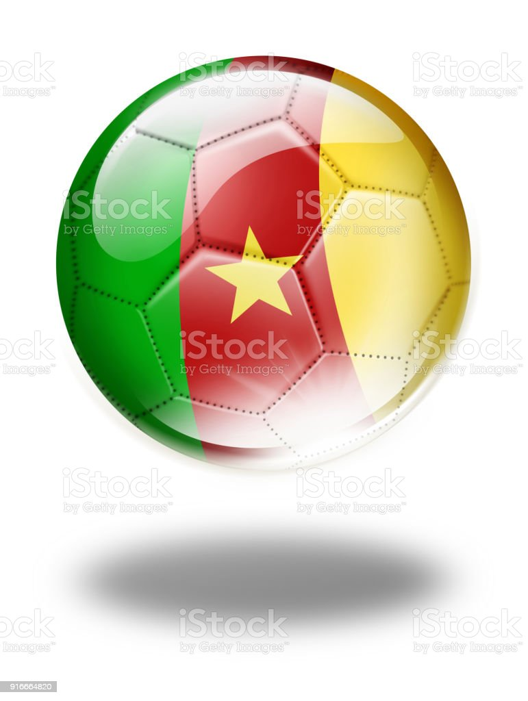 Cameroon soccer ball with flag isolated on white vector art illustration