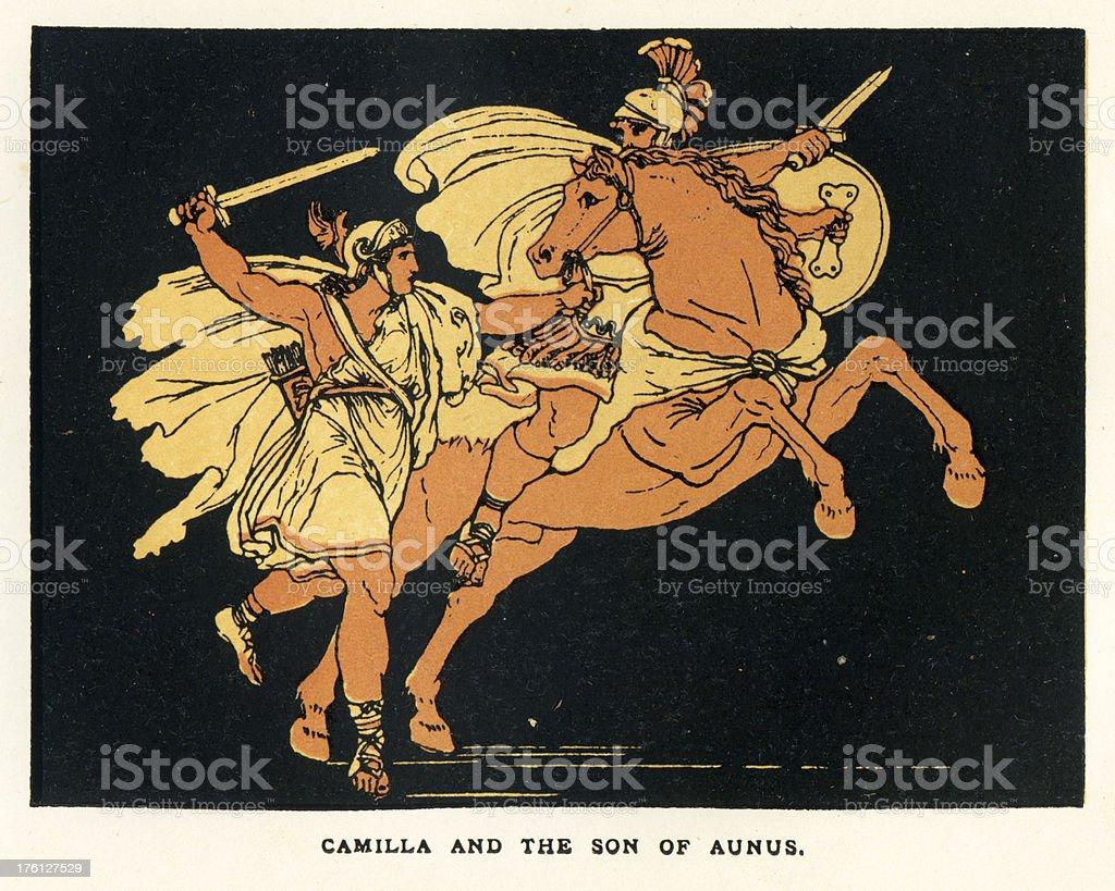 Camilla and Aunus vector art illustration