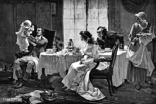 Camille Desmoulins and His Family at Lunch by Francois Flameng (circa 19th century). Vintage etching circa late 19th century.
