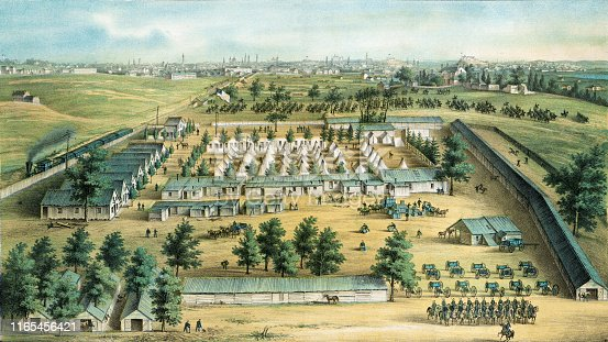 Vintage illustration features an aerial view of a Union military encampment during the American Civil War called Camp Carroll on the grounds of Mount Clare, home of the Carroll family.