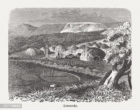 istock Camp of the Comanche, wood engraving, published in 1893 1217136002