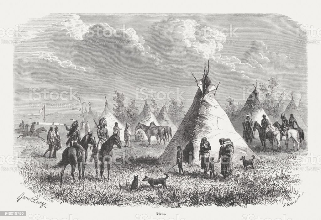 Camp of the Sioux, wood engraving, published in 1868 vector art illustration