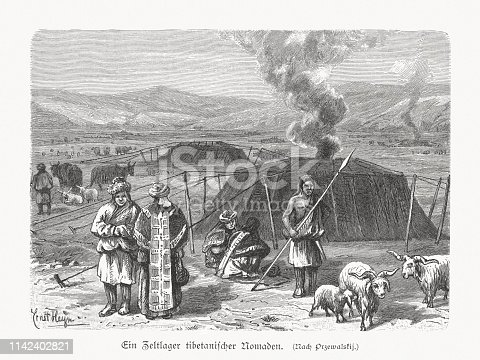 A camp of Tibetan nomads. Wood engraving, published in 1897.