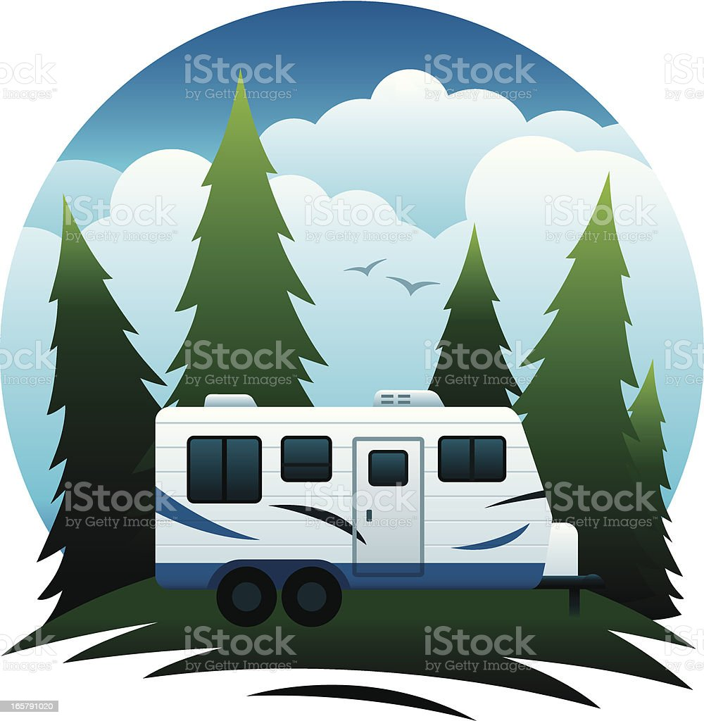 Camp Trailer Scene royalty-free stock vector art