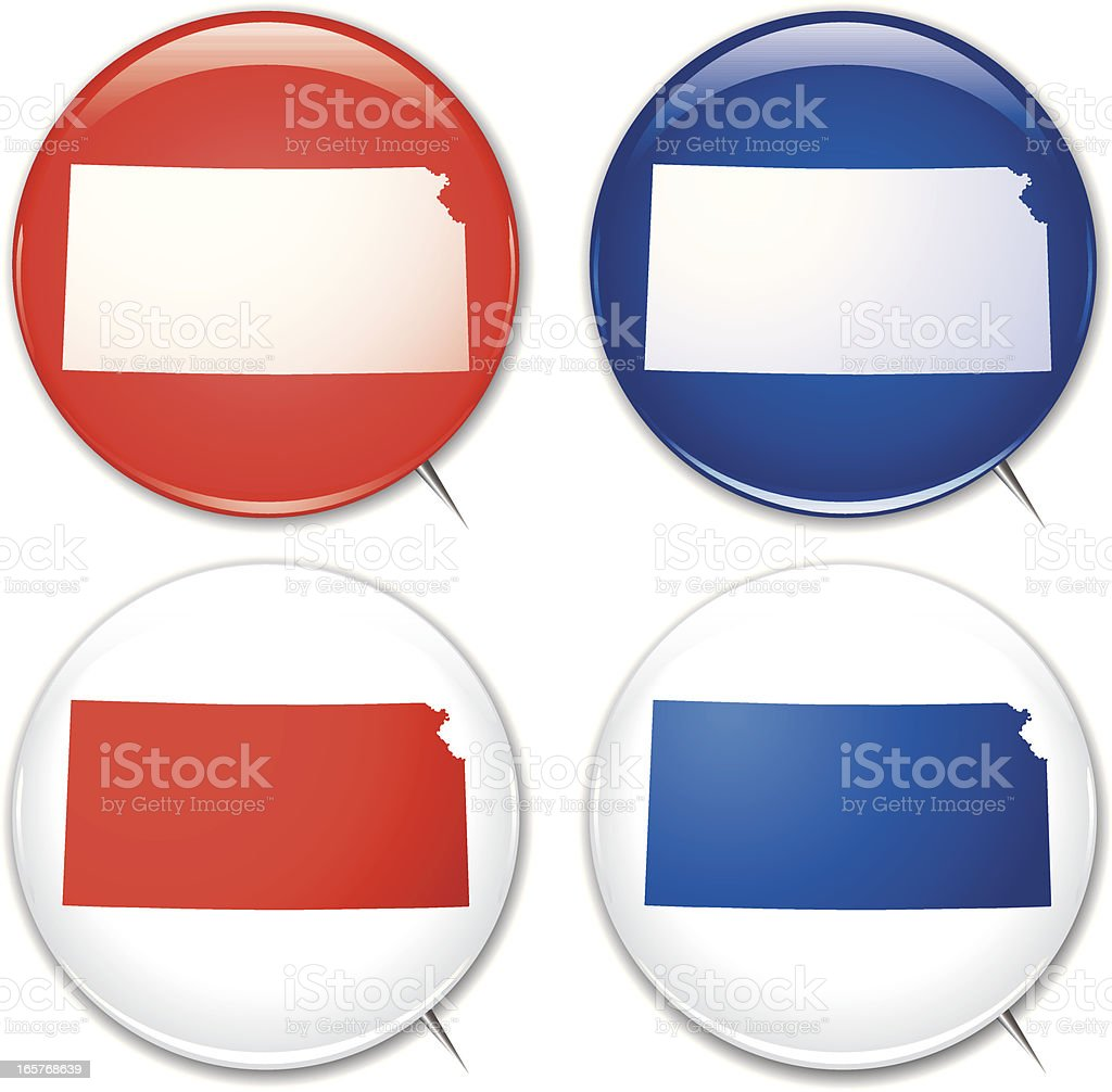 Campaign Buttons - Kansas royalty-free campaign buttons kansas stock vector art & more images of badge