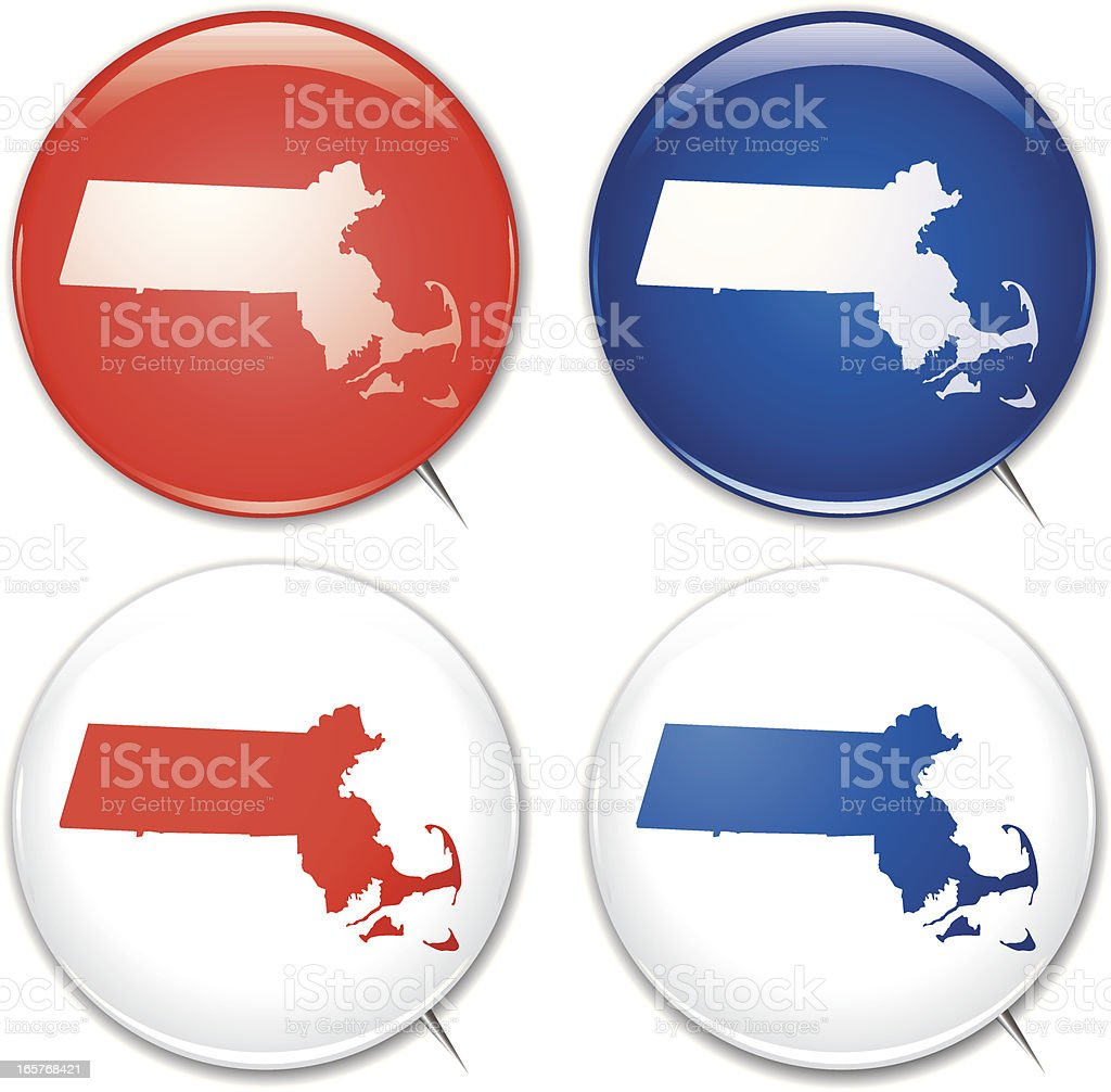 Campaign Buttons - Massachussetts royalty-free stock vector art