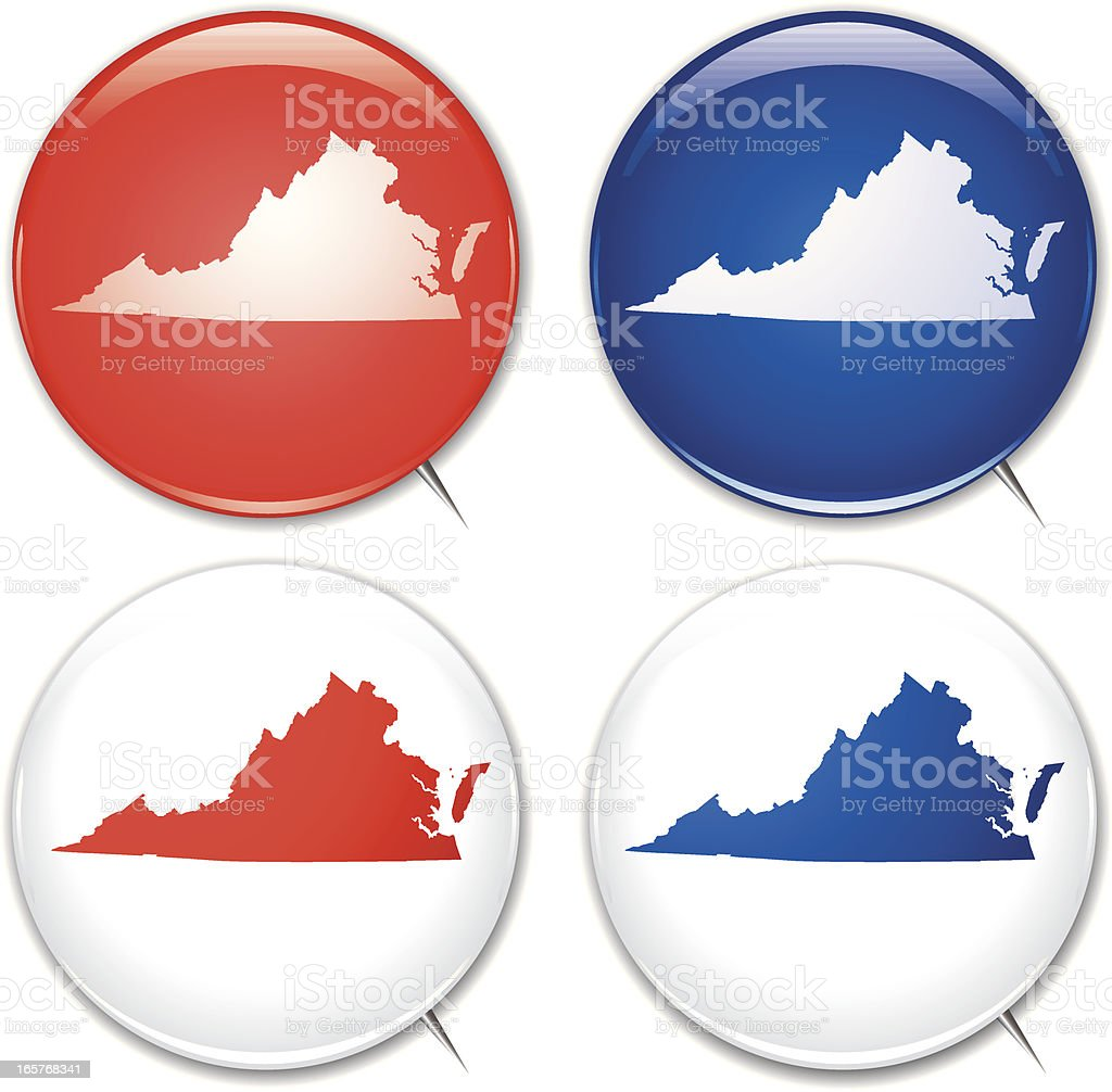 Campaign Buttons - Virginia royalty-free stock vector art