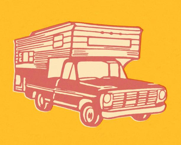 Camper on Truck Camper on Truck rv interior stock illustrations