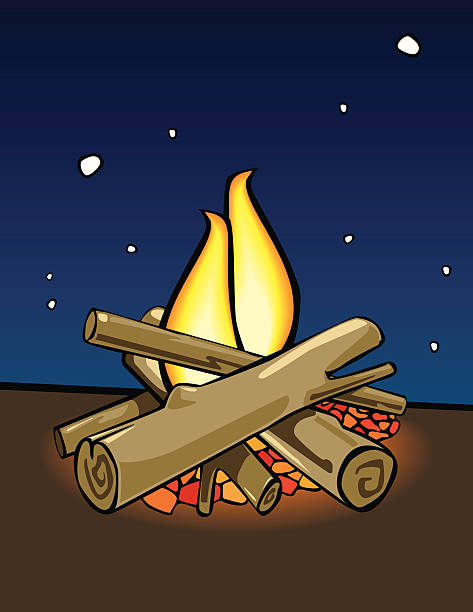 Campfire cartoon style vector art illustration