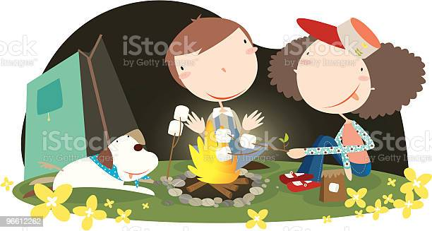 Campfire-vektorgrafik och fler bilder på Avkoppling