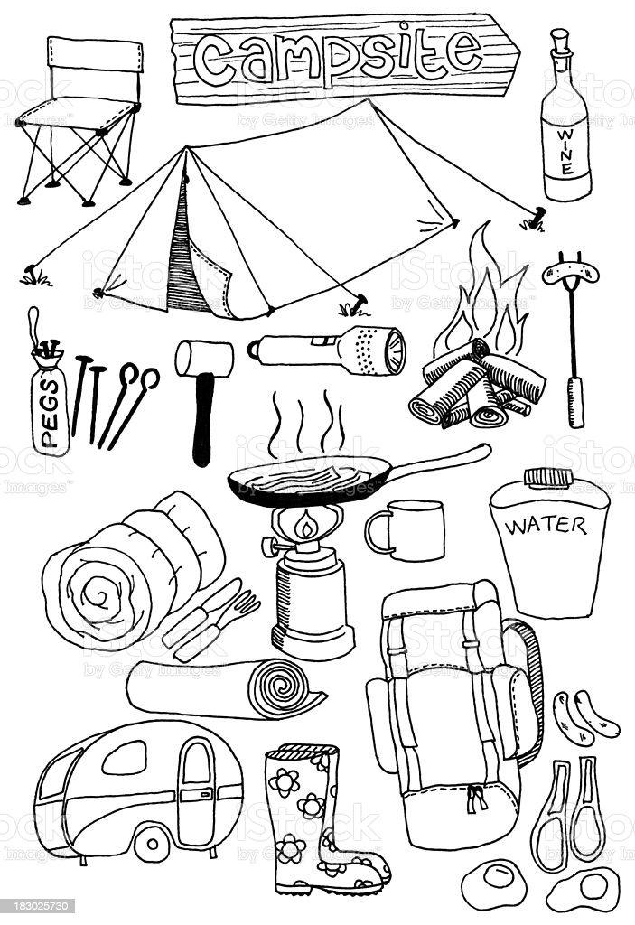 camping doodles vector art illustration