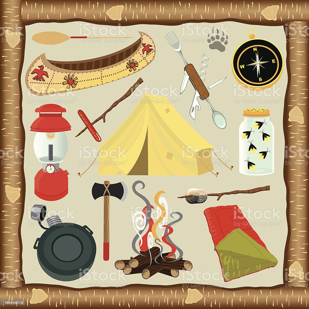 Camping Icons and Elements vector art illustration