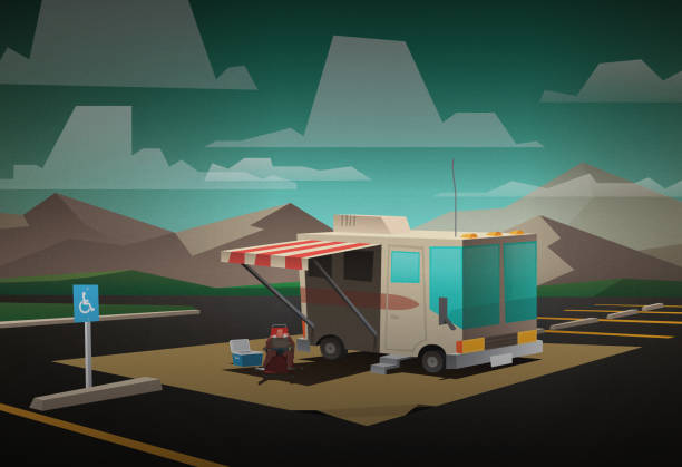 RV camping Stylized camper parked in a large parking lot, camper lounging in a chair and mountains are featured. rv interior stock illustrations
