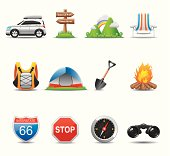 Elegant camping & travel icon can beautify your designs & graphic