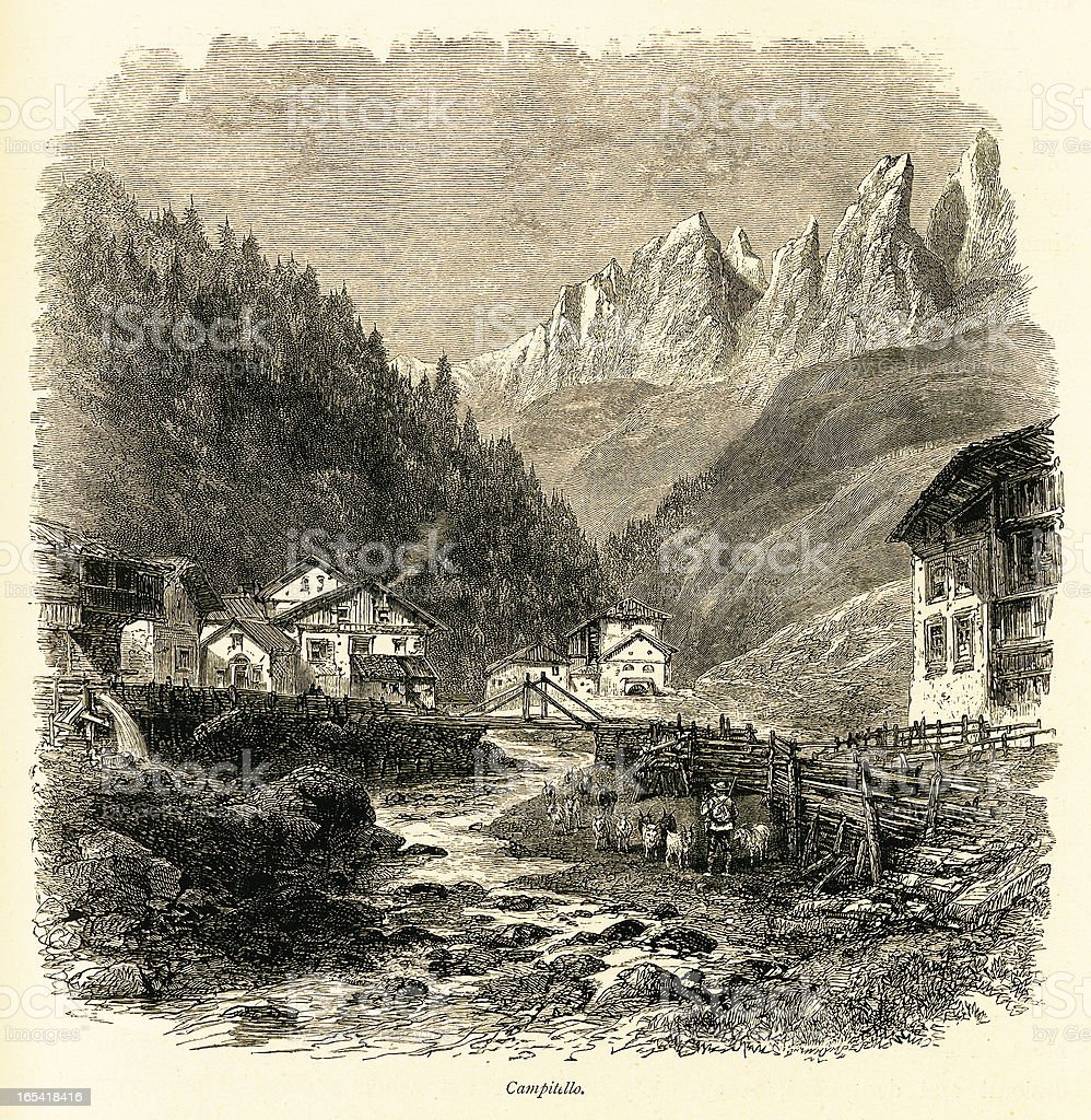 Campitello, Italy (antique wood engraving) royalty-free campitello italy stock vector art & more images of alto adige