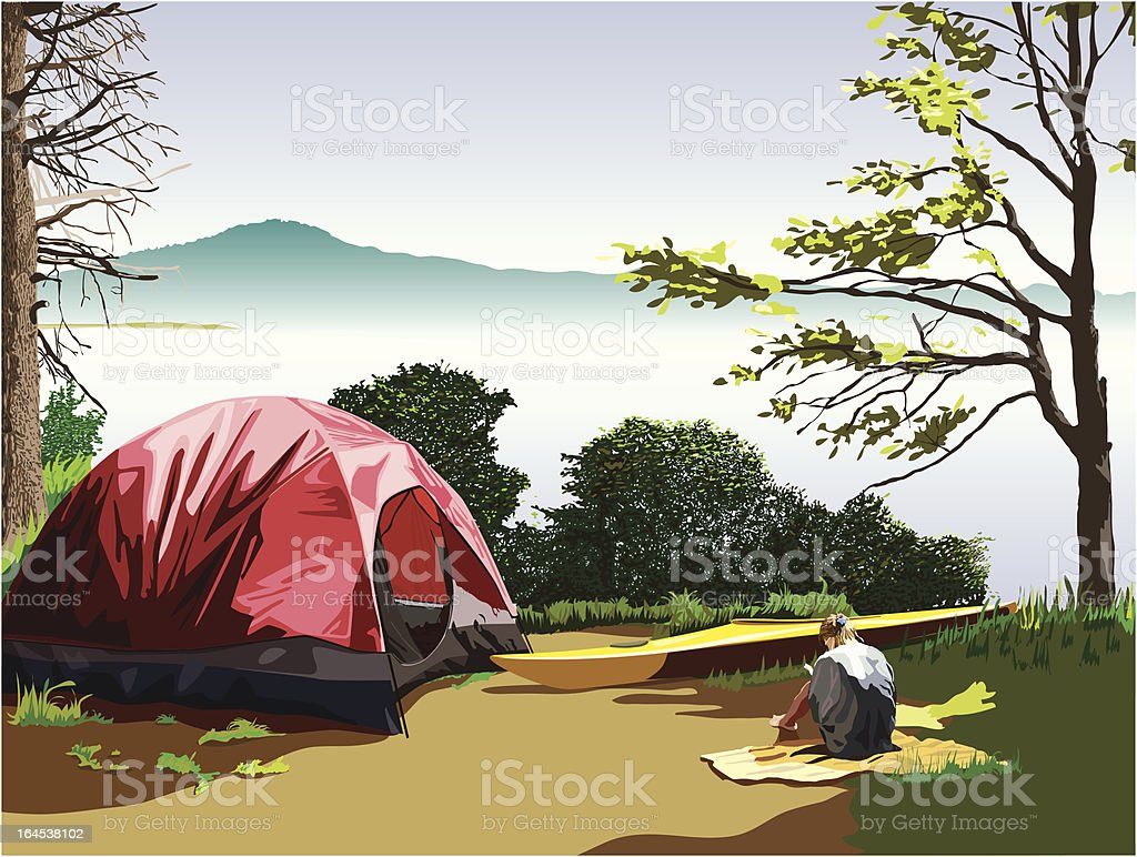 Campsite at Moss Lake vector art illustration