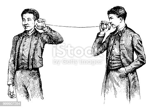 Illustration of a can telephone