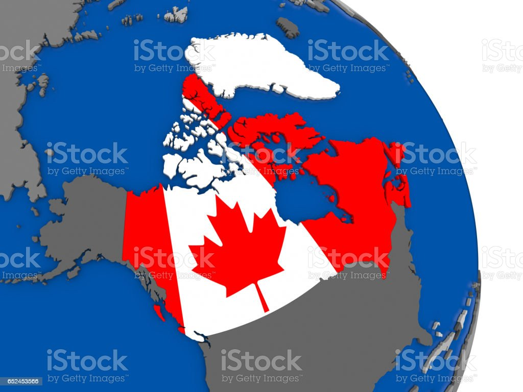 Map Of Canada On Globe.Canada And Its Flag On Globe Stock Vector Art More Images Of