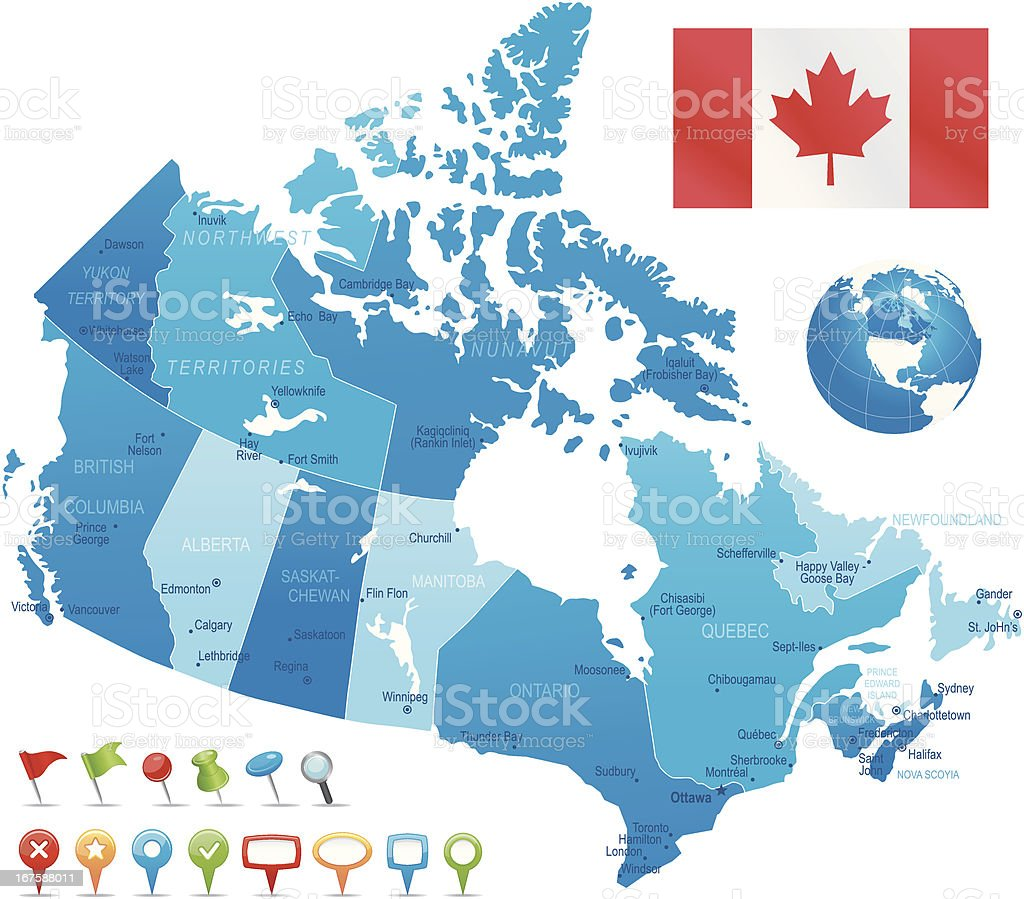 Canada - highly detailed map royalty-free stock vector art