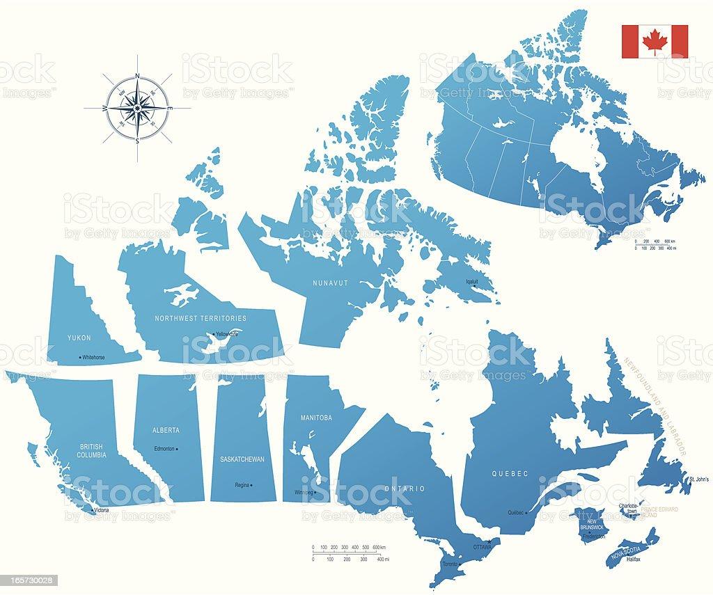 Canada, provinces and territories vector art illustration