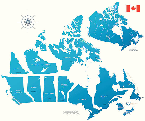 Canada, provinces and territories vector art illustration