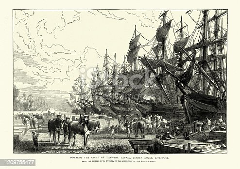 istock Canada Timber Docks, Liverpool, 1870s, 19th Century 1209755477