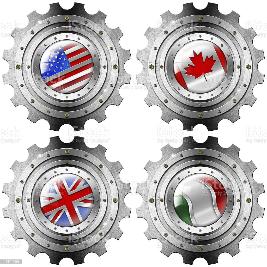 USA Canada UK Italy Gears Metal Flags royalty-free stock vector art