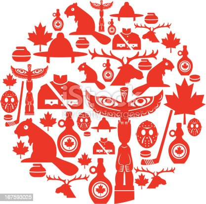 A set of Canadian themed icons. Click below for more travel images.