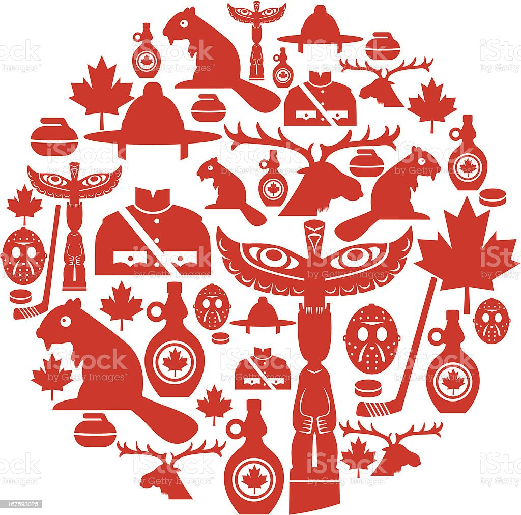 Canadian Icon Montage vector art illustration